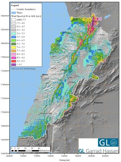 GL Garrad Hassan's wind map of Lebanon