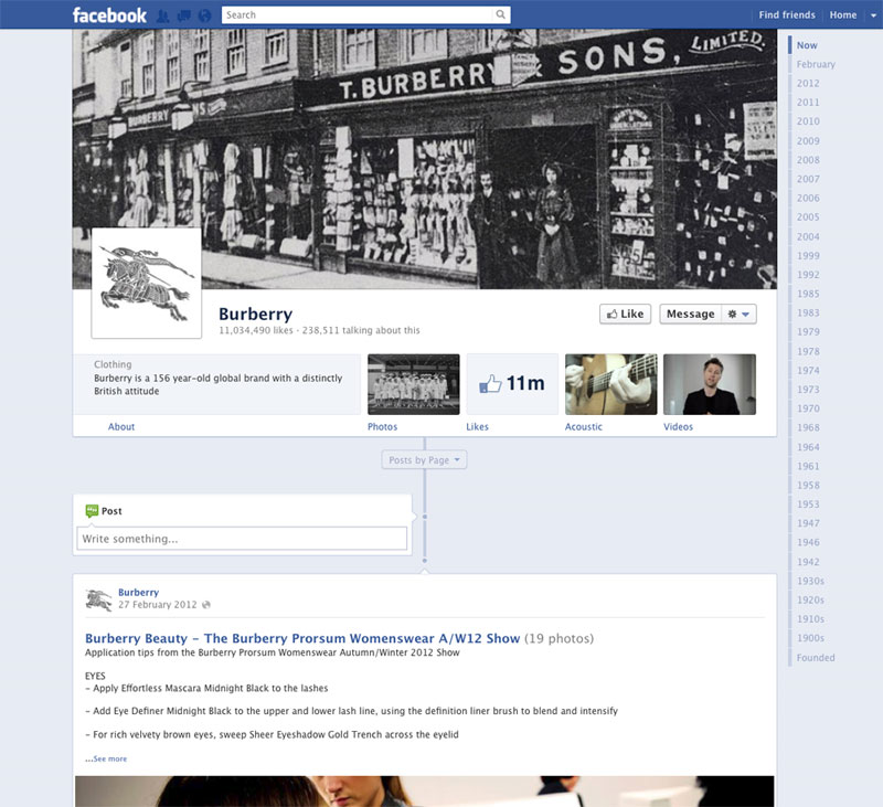 Burberry Facebook timeline