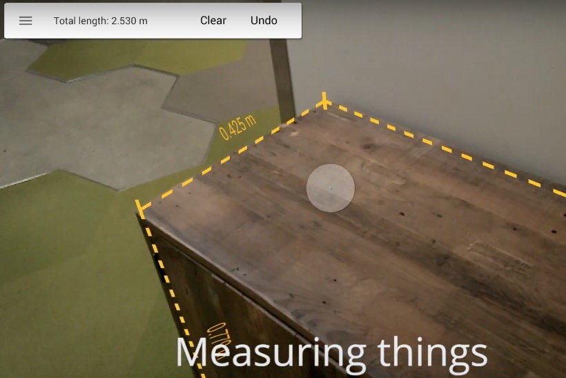 Google's Project Tango as virtual measuring tape