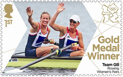 Olympic rowing gold medal duo Helen Glover and Heather Stanning in Royal Mail stamp first