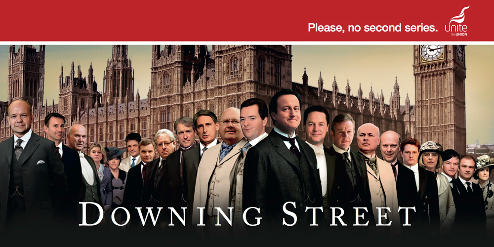 Unite is poking fun at the wealth of the Coalition Government in a poster ad created by TBWA\London to coincide with the Conservative Party Conference.