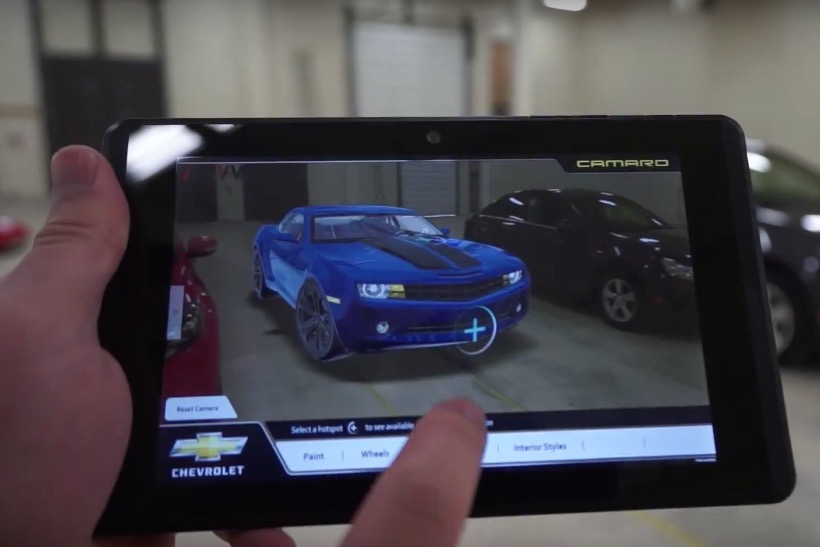 Google's Project Tango superimposes virtual car onto real garage