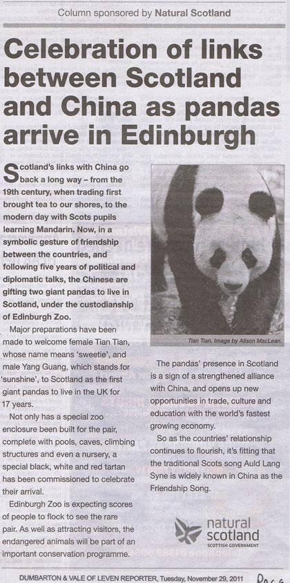 ASA raps Scotland's panda 'gift' claim