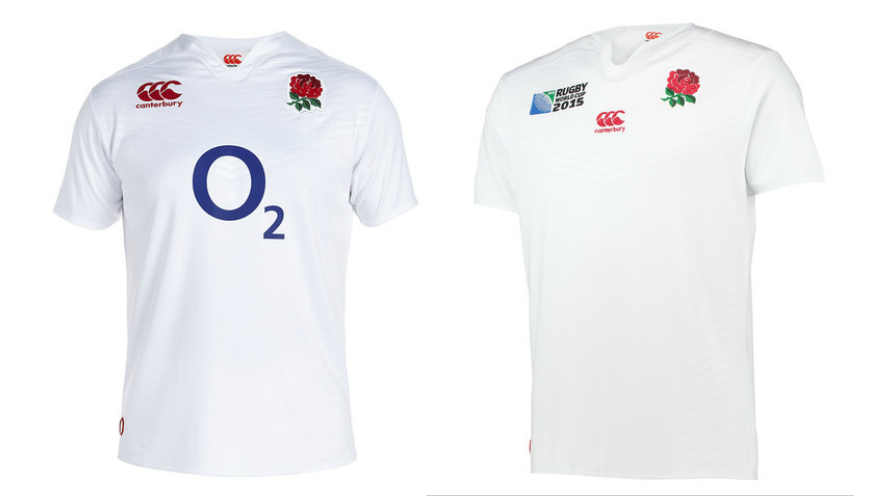 England Rugby home and Rugby World Cup kits
