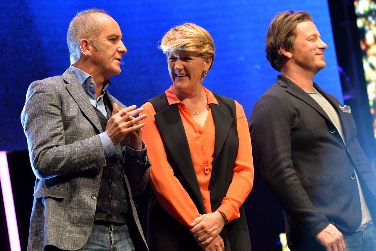 Kevin McCloud Clare Balding and James Oliver