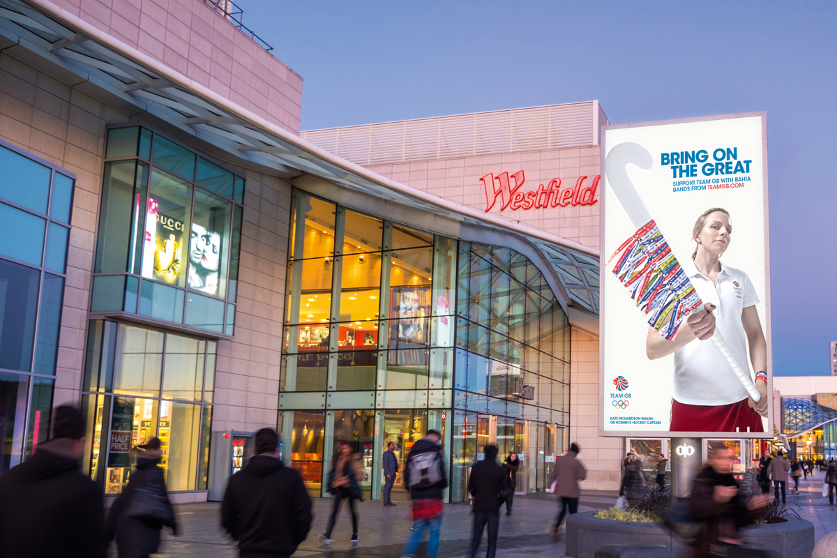 The 2016 Team GB 'Bring on the Great' outdoor ad on the Southern Terrace at Westfield