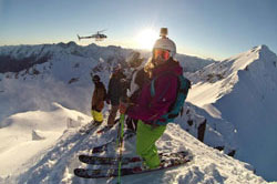 GoPro mounted on skiier's helmet