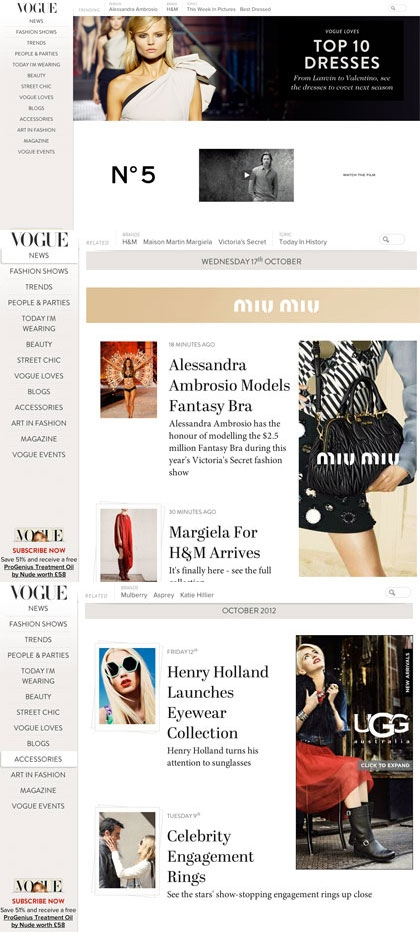 Images of Vogue's new site