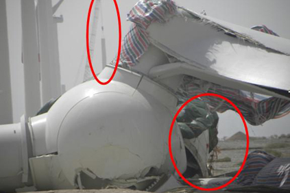 A failure to properly attach the turbines to the tower has resulted in some of the collapses