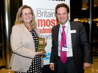 Chance UK chief executive Gracia McGrath accepting the award from Rob Owen, chief executive of last year's winner the St Giles Trust
