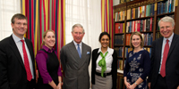 Prince Charles with Ian Watmore, Ruth Alban, Sam Tennakoon, Tracy Bunn and Mark Gibson