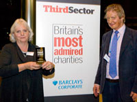 Juliet Lyon accepts her award from last year's winner James Partridge, chief executive of Changing Faces