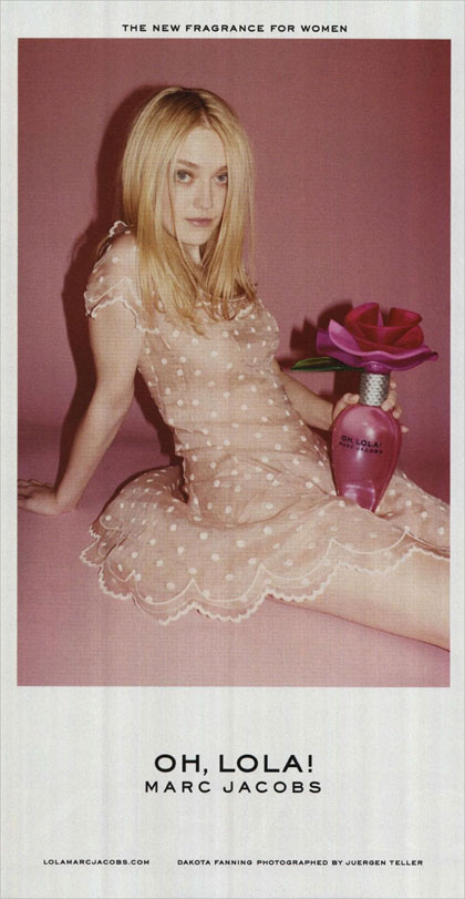 Mark Jacobs ad featuring 'Twilight' actress Dakota Fanning showcasing the brand's Oh Lola! perfume