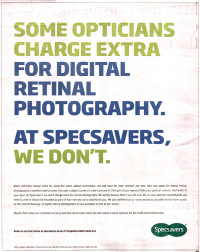 Specsavers: ad is banned over technology claim