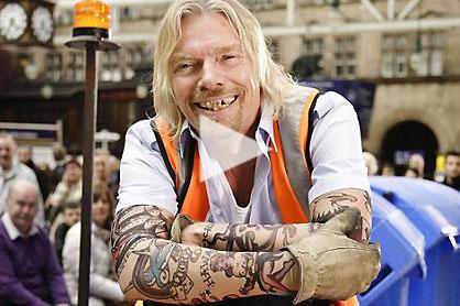 Richard Branson in Virgin Trains ad