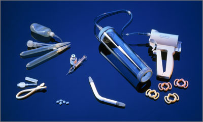 Treatmetns for ED, including a vaccum pump and a penile prosthesis (Photograph: SPL)
