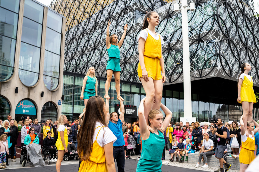 Dancers perform at the 'Three Years to Go' celebration from Birmingham's Centenary Square in July 2019