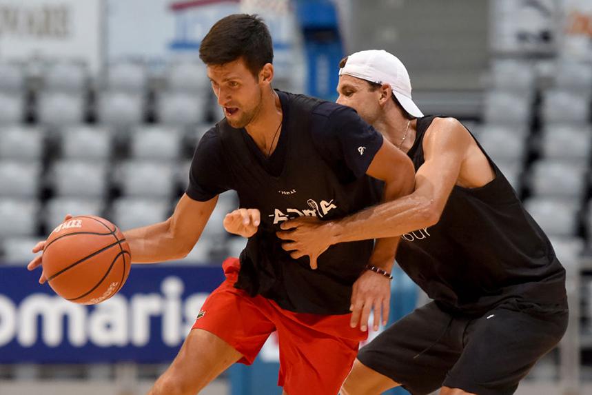 Novak Djokovic (left) and Grigor Dimitrov