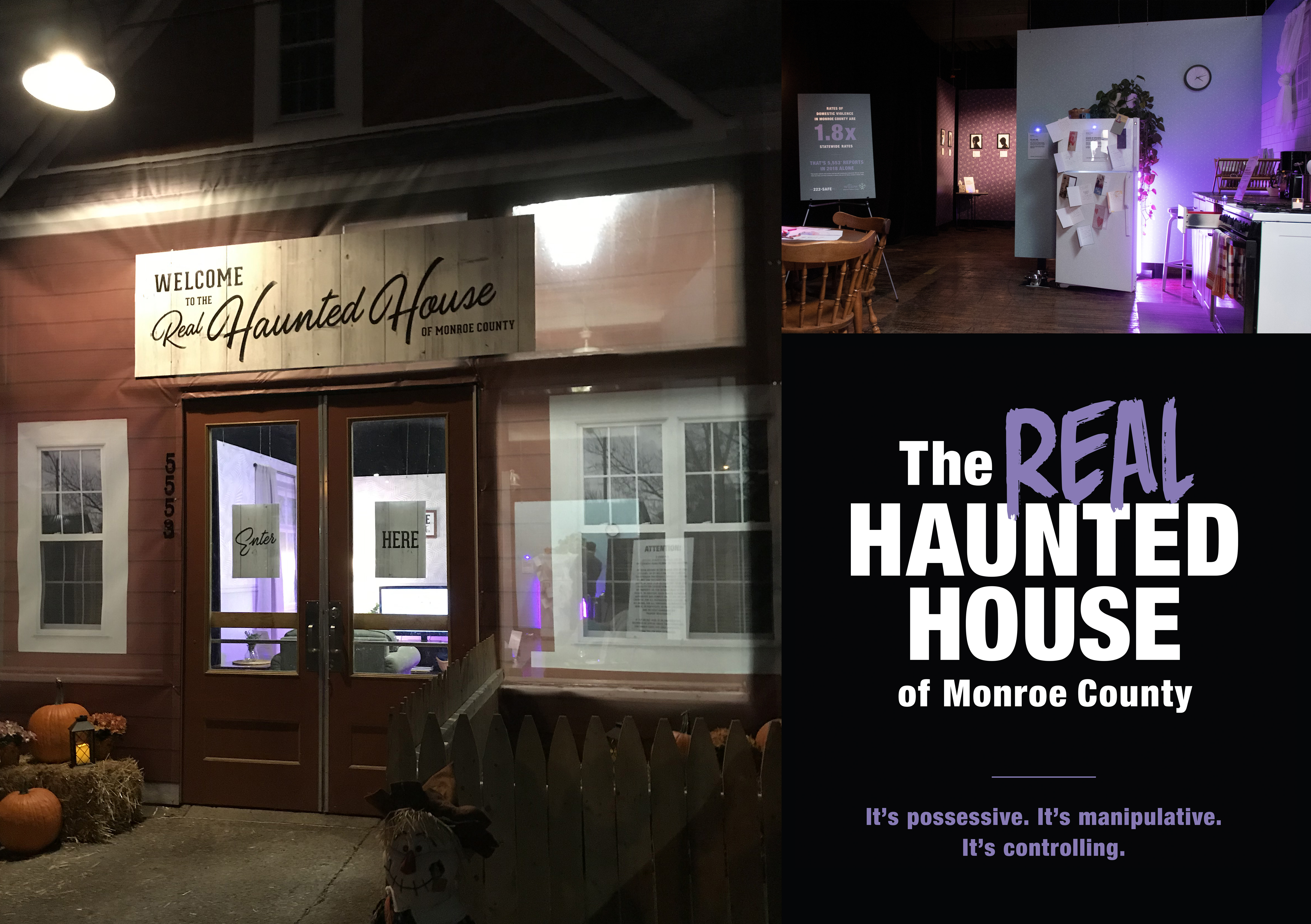 Truth Collective campaign with text that says the real haunted house of monroe county