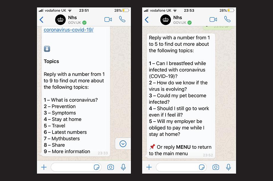 screenshots of the new WhatsApp service
