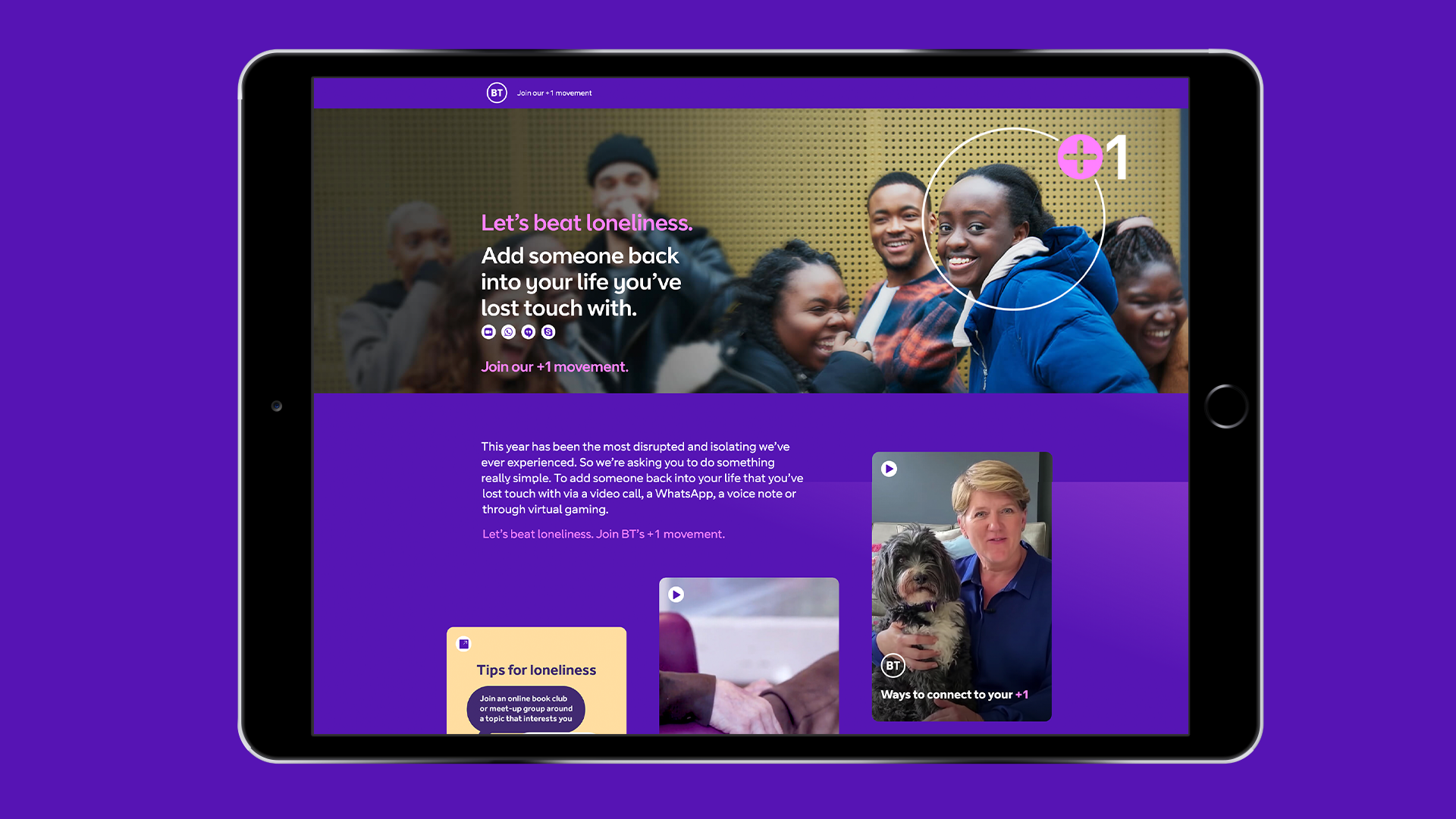 BT: +1 Hub encourages public to connect with others
