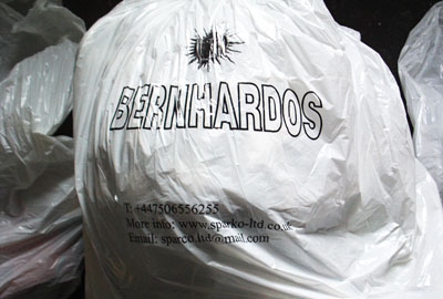 A charity bag used by Kaminskas