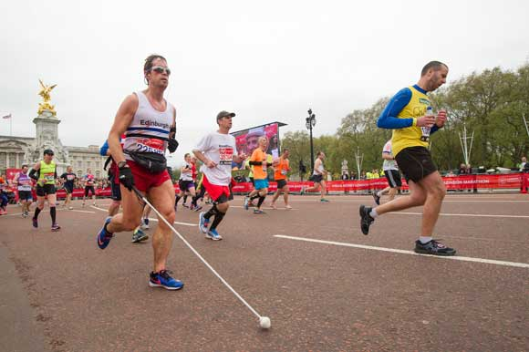 blind runner on the mall