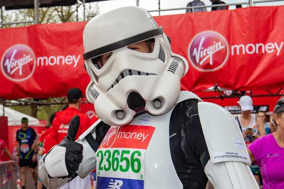 runners dressed as a stormtrooper