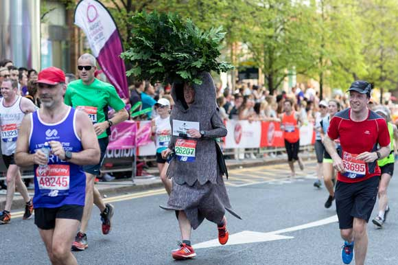 runner dressed as a tree
