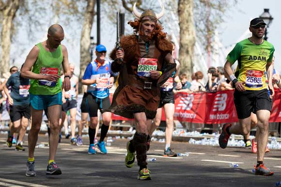runner dressed as a viking
