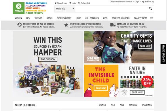 Oxfam online shop home page