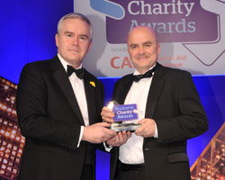 Huw Edwards [l] with Miko Coffee managing director Adrian Stagg