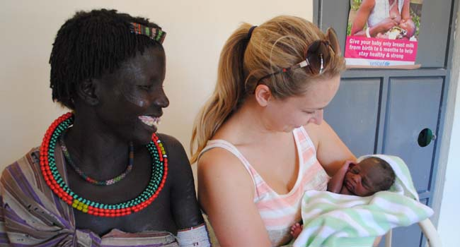 Save the Children in South Sudan: Adele Korman holding baby Adele, who was named after her