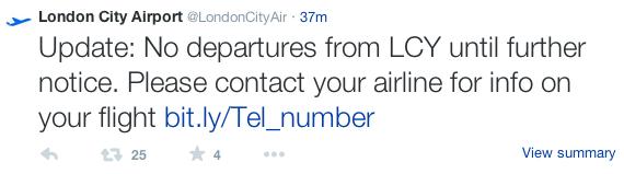 London City Airport tweet