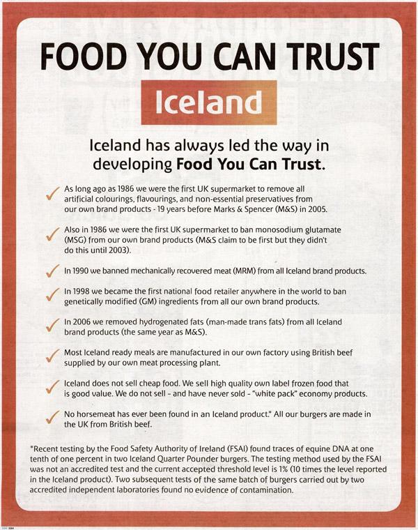 Iceland 'no horsemeat' ad