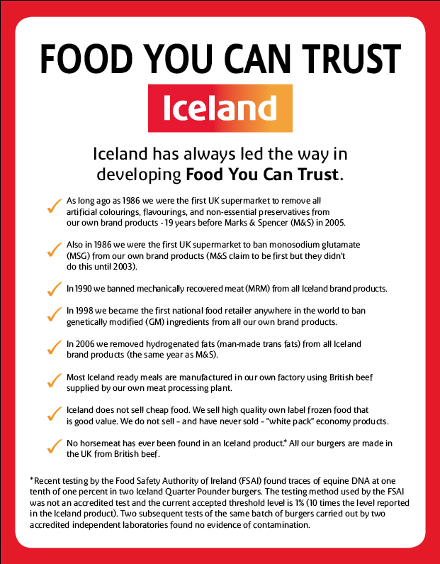 Iceland horsemeat ad