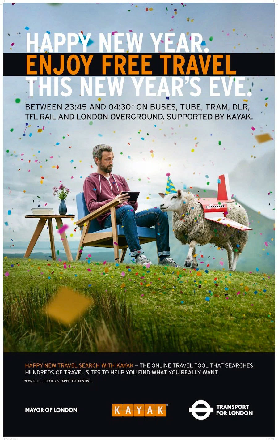 Kayak sponsors TfL on New Year's Eve