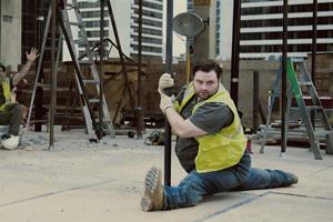 A builder pole dancing
