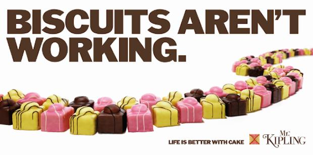 Mr Kipling apes the Tories' famous 'Labour Isn't Working' poster