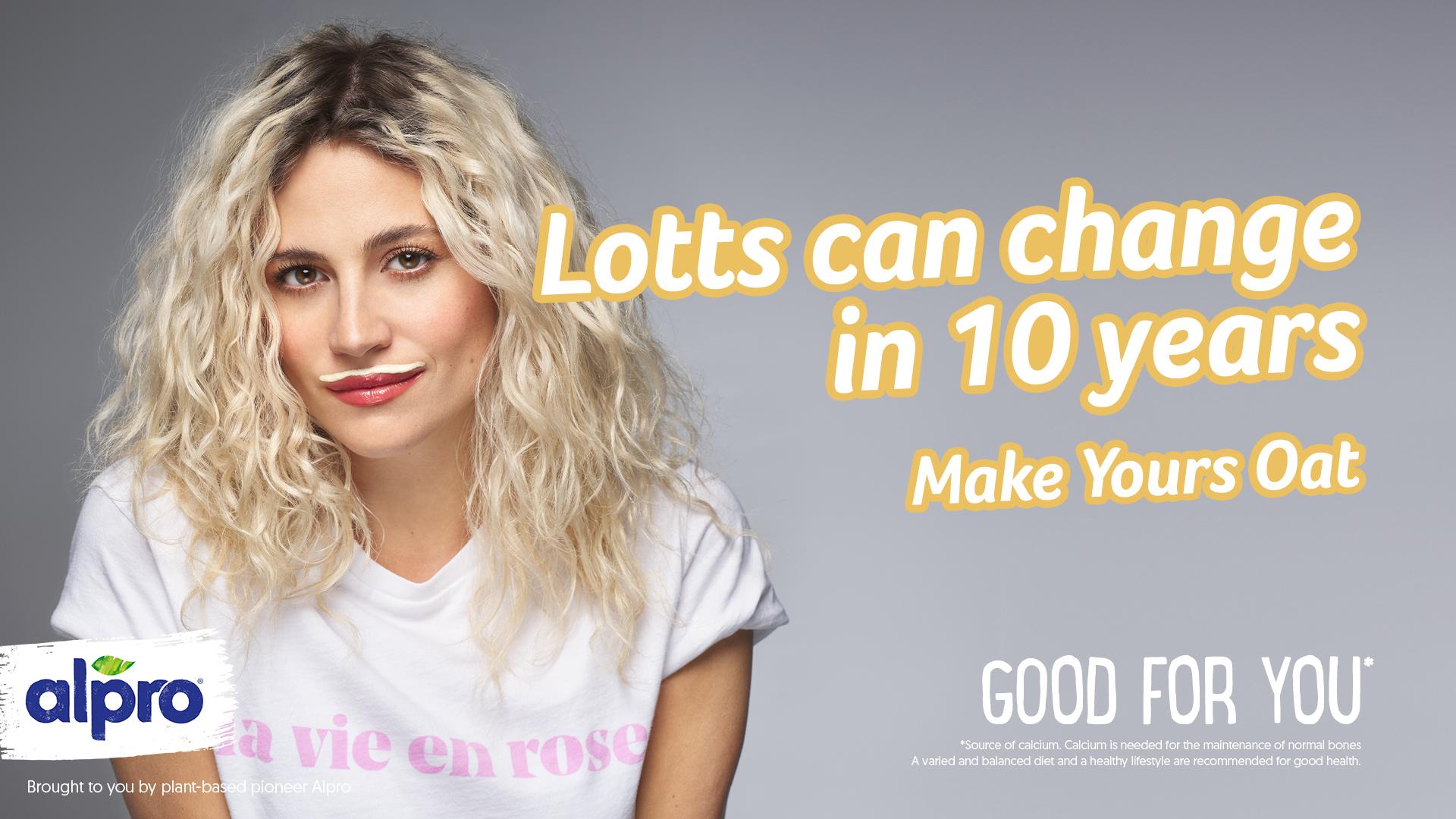 Pixie Lott: singer boasts 'moatstache' for alpro