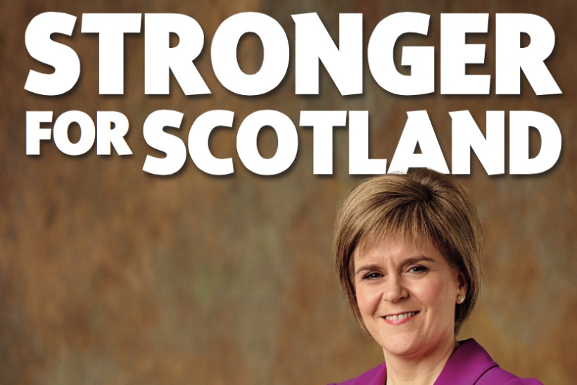 Nicole Sturgeon, the SNP leader, appearing in the party's manifesto