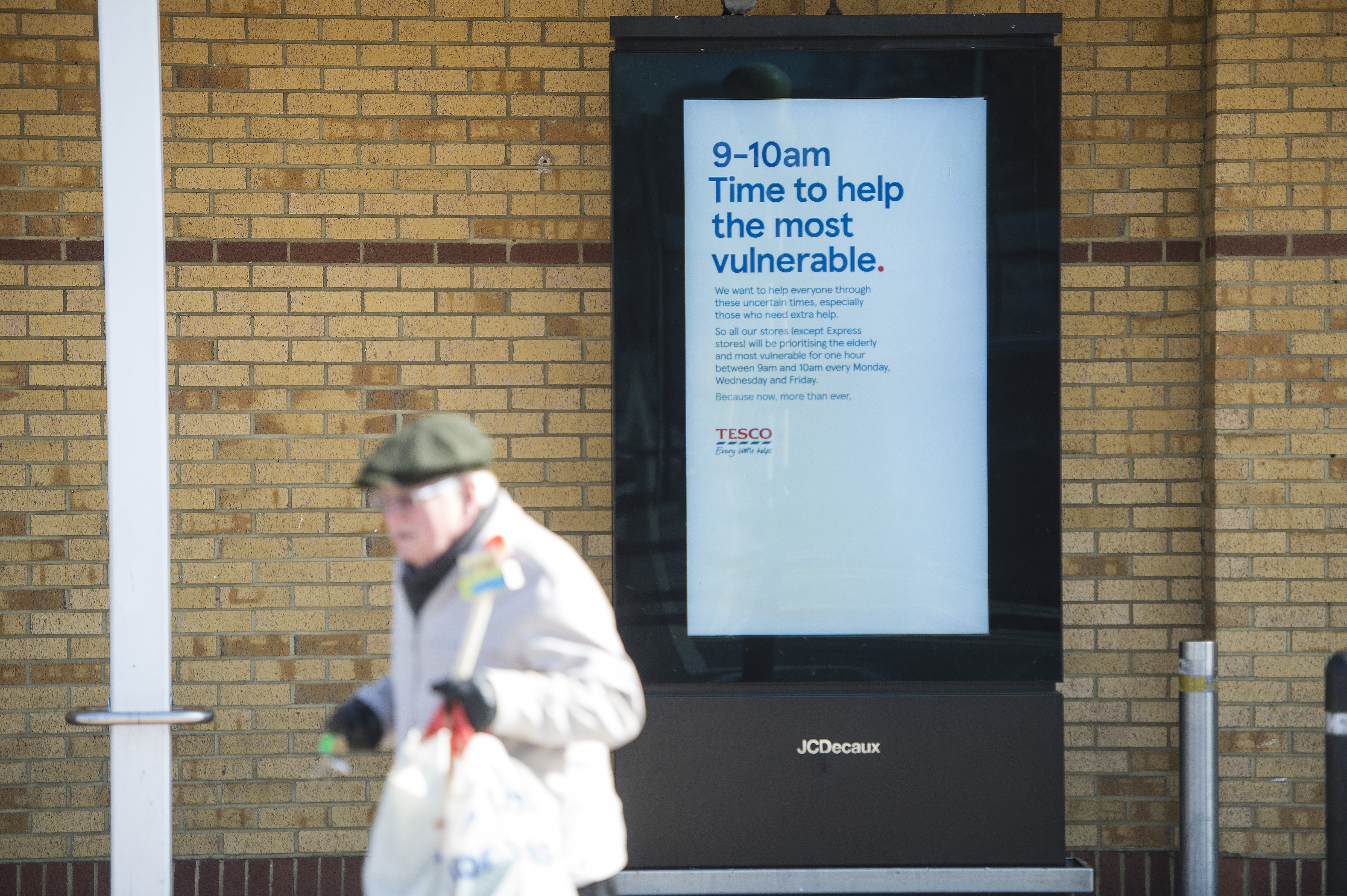 Tesco: brand has allocated priority hours for the vulnerable and elderly