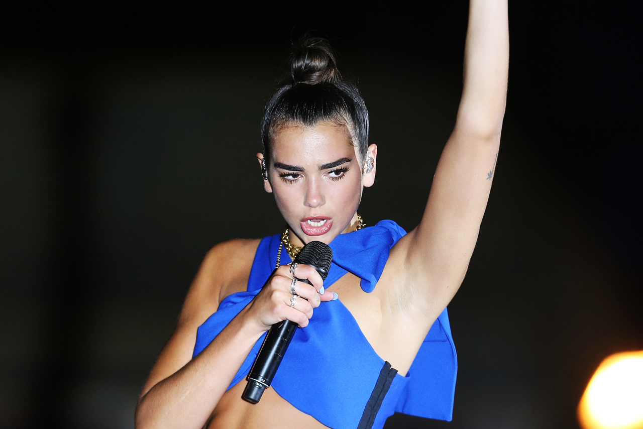 Dua Lipa performing at the Voxi launch