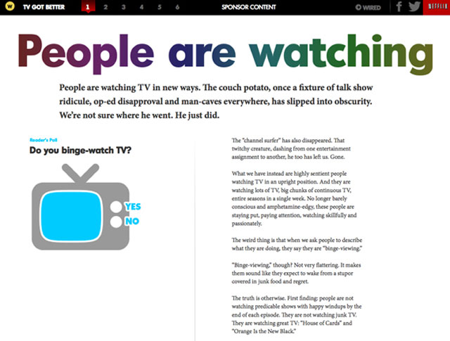 Wired's recent native ad for Netflix: