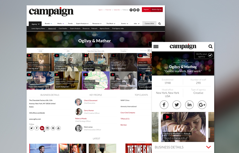Campaign's new agency pages