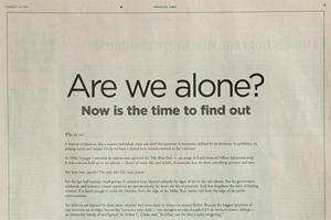 Are we alone? advert in the FT