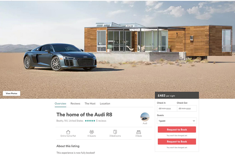 Audi and Airbnb's co-branded experience was an instant success
