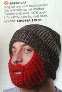 Beard caps for sale in the in-flight magazine