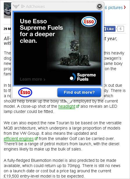 Esso: ad running on Dennis site