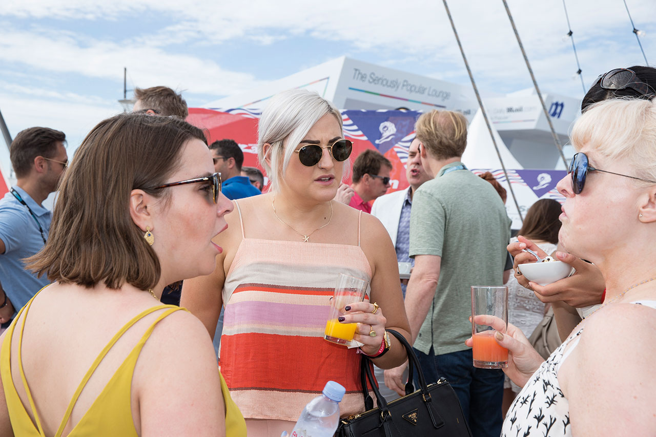 Members of the industry audience mingled and chatted aboard the News UK yacht where the session was held
